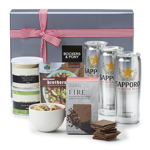 """Sapporo Beer Hamper, $99, from [Bockers And Pony](https://www.bockersandpony.com.au/sapporo-beer-hamper.html
