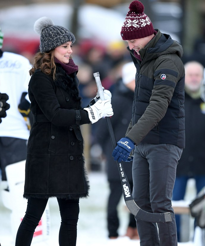Kate and Wills flexed their hockey skills as they took part in a penalty shoot out at an outdoor ice-rink in the centre of Stockholm.