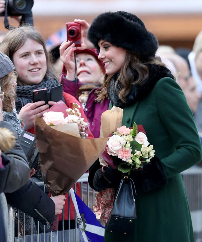 A vast crowd of flag waving fans and well-wishers turned out to catch a glimpse of the expectant royal.