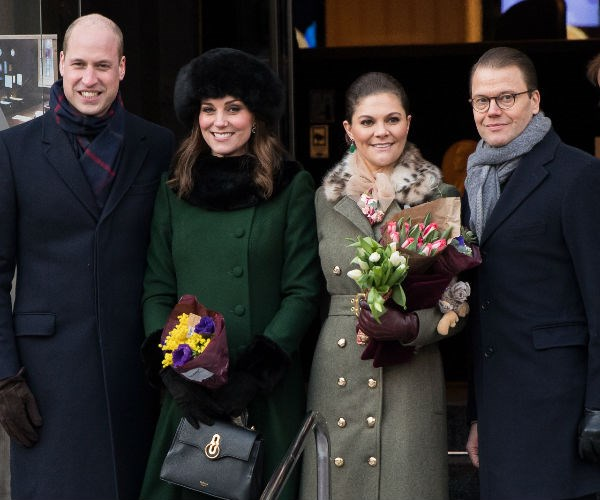 Crow Princess Victoria and Prince Daniel accompanied the beloved duo as they walked the city's cobbled streets to Stortorget.