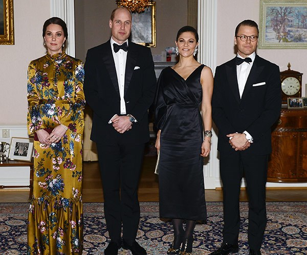 Duchess Catherine, Prince William, Princess Victoria and Prince Daniel pose for a photo at the British Ambassador's residence in Stockholm ahead of their dinner.