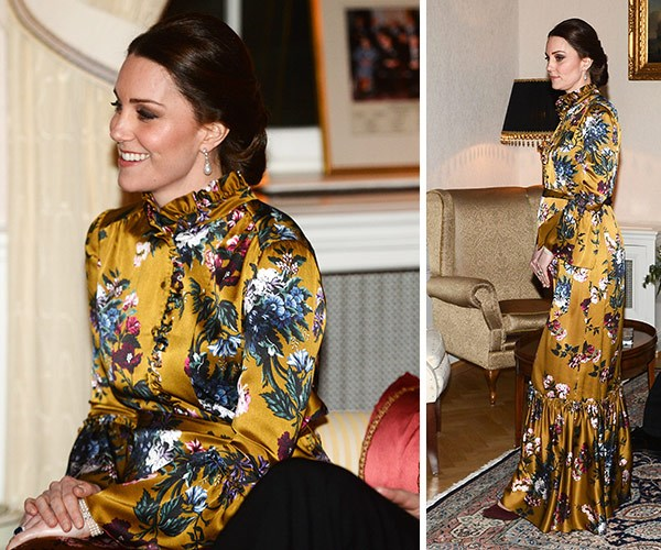 Kate, who is six months pregnant, looked stunning in a silk gown by Erdem.