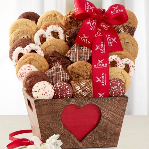 "Valentine's Day Deluxe Cookie & Brownie Collection Gift Basket, $49.95, from [Wine Country Gift Baskets](https://www.winecountrygiftbaskets.com/valentines-day-deluxe-cookie--brownie-collection-gift-baskets/550|target=""_blank""