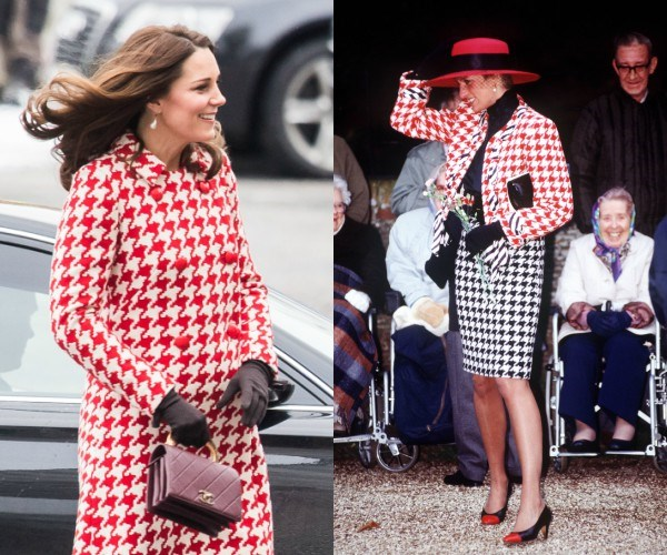 The Duchess (L) channeled her late mother-in-law Princess Diana (R) with her choice of outfit.