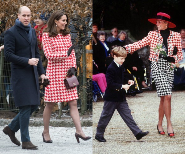 Prince William is pictured with his mother (R) in 1990 and with wife Kate (L) this week.