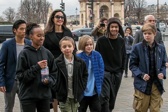 They're so grown up! Angelina Jolie with her children Shiloh Pitt Jolie, Maddox Pitt Jolie, Vivienne Marcheline Pitt Jolie, Pax Thien Pitt Jolie, Zahara Marley Pitt Jolie, Knox Leon Pitt Jolie, visit the Louvre in Paris,