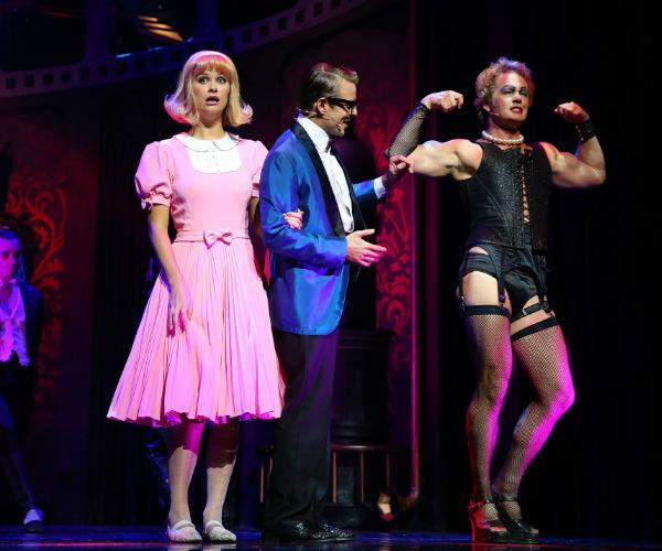 The actor is pictured alongside former co-star Christie Whelan Browne during the production of the *Rocky Horror Show.*