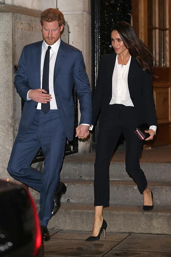 What a stylish pair! Prince Harry and Meghan attend the annual Endeavour Fund Awards at Goldsmiths Hall in London.