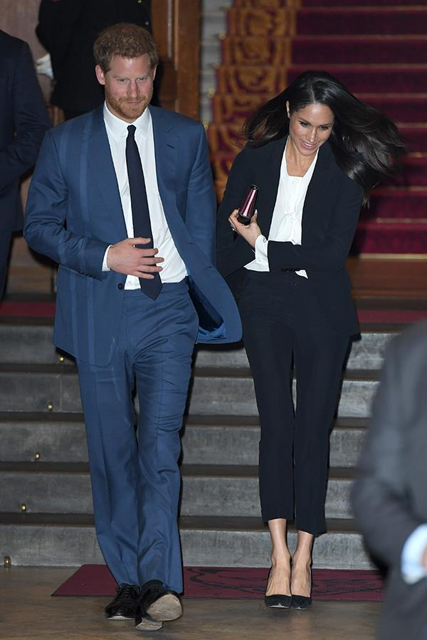Meghan's stunning suit was by royal fashion favourite, Alexander McQueen.