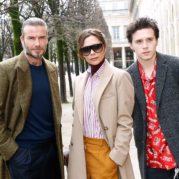 The family fashion pack! David, Victoria and their eldest son Brooklyn show they have serious coat-game while in Paris for Fall/Winter 2018 Fashion Week.