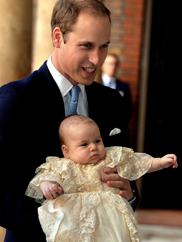 A baby Prince George on his very special day all the way back in 2012.