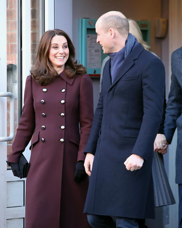 Duchess Catherine, with Prince William, wearing a Dolce & Gabbana coat in Oslo.
