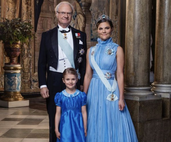 King Carl XVI Gustaf, his daughter Crown Princess Victoria and granddaughter Princess Estelle -- three generations of Sweden's monarchs, present and future -- have posed for a stunning new portrait. In the regal new offering released by Sweden's Royal Palace this week, the family coordinate in matching hues of blue as they smile toward the camera.