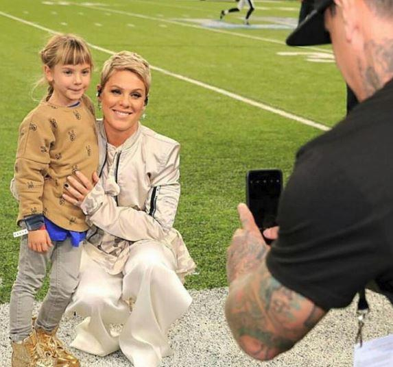 Willow and Carey couldn't have been any prouder than Pink when she performed at the 2018 Superbowl, despite having a voice-stealing flu. *(Image: Instagram @pink)*