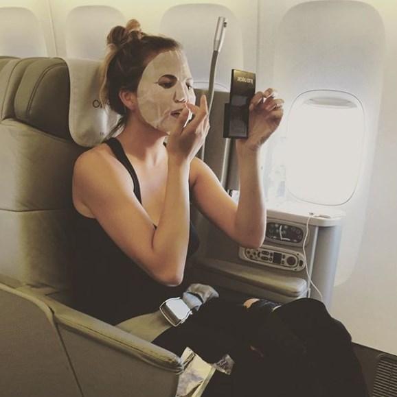 Chrissy Teigen has her in-flight skincare regime sorted.