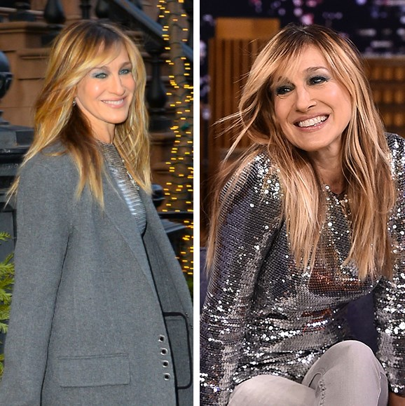 A smiley Sarah Jessica Parker stepped out of her New York home this week debuting her most flattering hair cut yet. The 52-year-old's long caramel locks appeared freshly lightened, while a new side-swept fringe framed the *Sex And The City* star's face. While it's no secret the grown-out fringe is the cut *de jour*, SJP made a convincing case for the trend's age-defying appeal as she stunned on her way to her appearance on *The Tonight Show Starring Jimmy Fallon*.