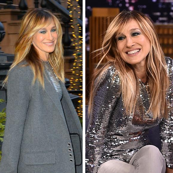 A smiley Sarah Jessica Parker debuted her most flattering hair cut yet. The 53-year-old's long caramel locks were freshly lightened, while a new side-swept fringe framed the *Sex And The City* star's face. While it's no secret the grown-out fringe is the cut *de jour*, SJP made a convincing case for the trend's age-defying appeal as she stunned on her way to her appearance on *The Tonight Show Starring Jimmy Fallon*.