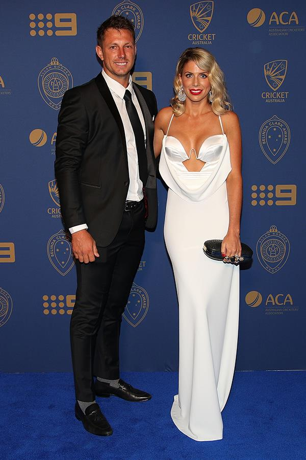 James Pattinson's wife Kayla Pattinson wore a slinky number by Australian label Lexi.