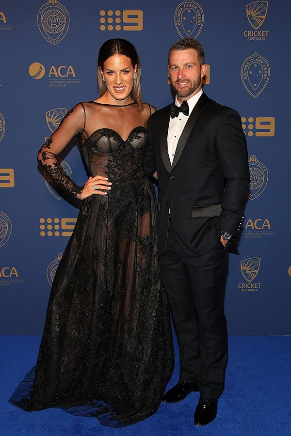 Matthew Wade's wife, Julia dared to bare a little skin in a sheer Oglialoro Couture gown.