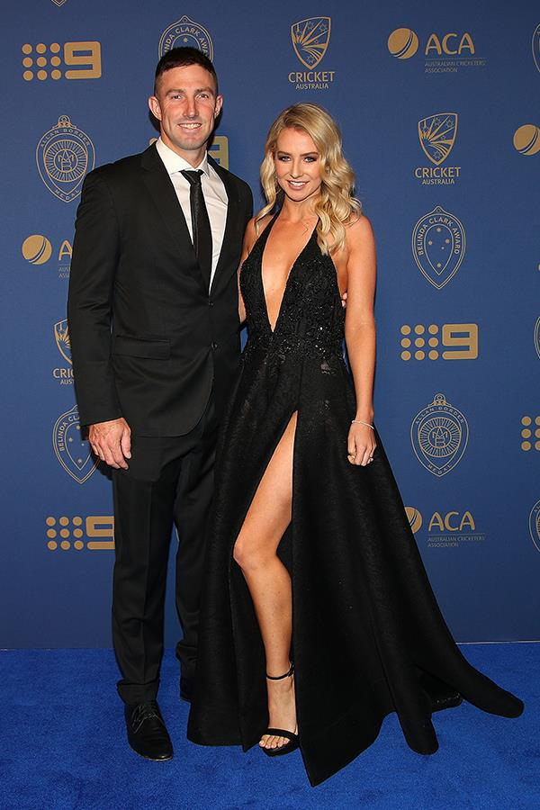 Shaun and Bec Marsh were demure in black.