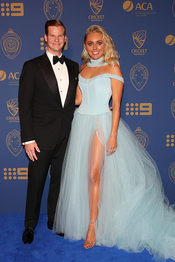 Australia's captain Steve Smith was named the Allan Border medallist and shared his joy with his fiancée Danielle Willis who wore a custom Oglialoro Couture princess gown.