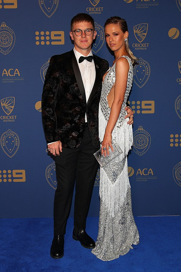 What a shining pair! Adam Zampa and Harriet Palmer walked the blue carpet together.