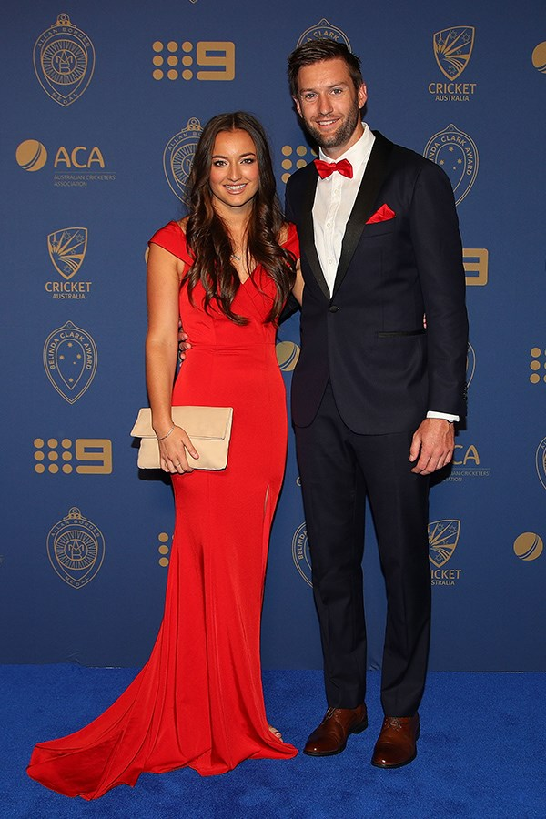 Valentine's sweethearts! Andrew Tye and Bonnie Raynor were a perfect match in red.