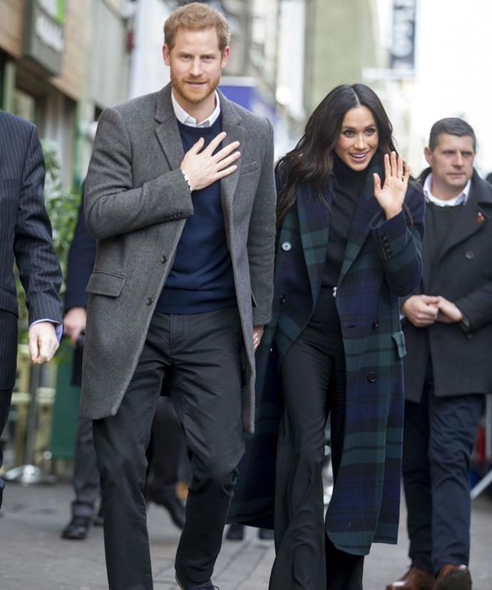 Prince Harry, 33, and Meghan Markle, 36, took a trip to Scotland on Tuesday -- their first official visit to the region as a couple.