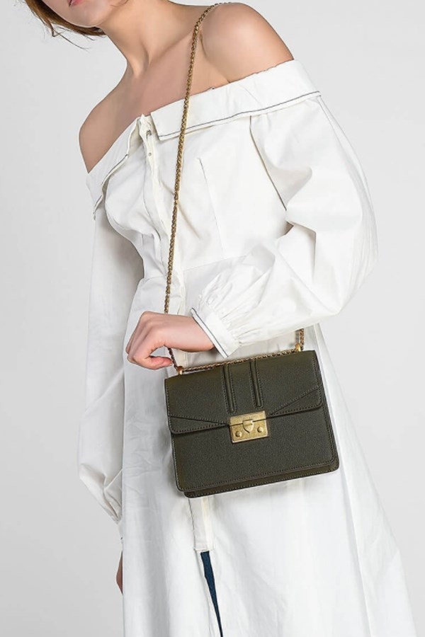 "Push-lock shoulder bag, $79 from [Charles and Keith](http://www.charleskeith.com/au/bags/push-lock-shoulder-bag-olive-ck2-20680639.html|target=""_blank""