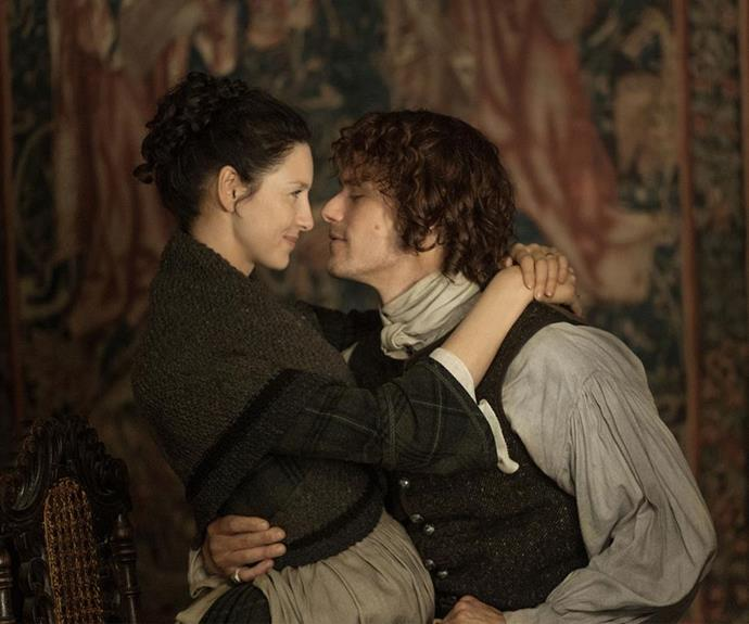**Claire Randall and Jamie Fraser** - ***Outlander*** When Claire (Caitriona Balfe) accidentally travels back through time to 1743 Scotland, she didn't expect to meet the love of her (past? present?) life. Jamie and Claire's love for each other is so fierce that it will make them walk to the ends of the earth to be together.