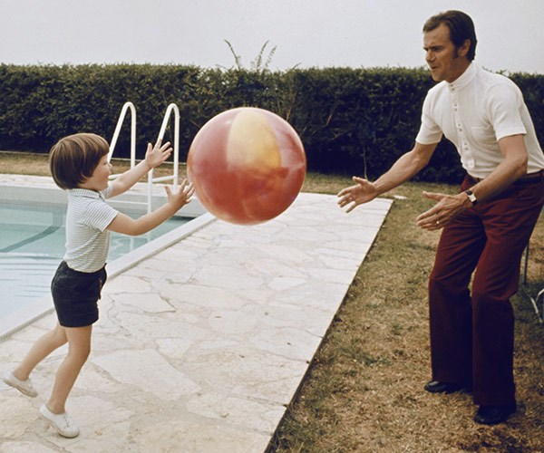 Playing catch with a young Frederik.