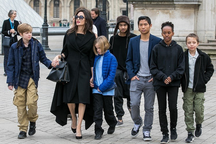 Angelina with the pair's kids in Paris.