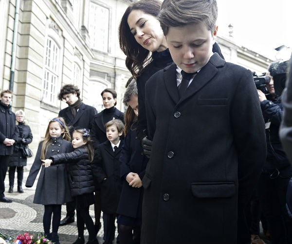 Princess Mary was also in attendance at the sombre visit.