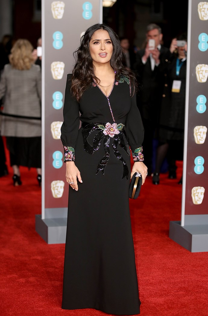 Salma Hayek wore black this evening in support of the Time's Up movement.