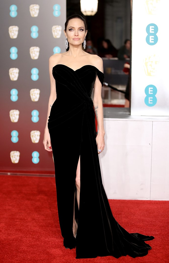 Angelina Jolie looked amazing in her black, off the shoulder dress. Her film F*irst They Killed My Father*, is nominated for best film not in the English language.