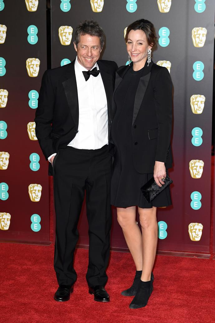Hugh Grant and his girlfriend Anna Eberstein, who is said to be pregnant with his fifth child.