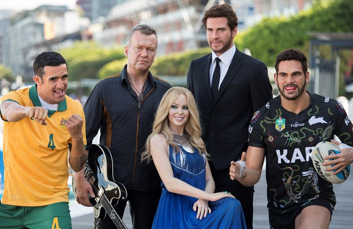 Kylie Minogue, is that you? While her waxworks counterparts, soccer star Tim Cahill, Aussie muso Jimmy Barnes, the youngest of the Hemsworths, Liam, and NRL great Greg Inglis, all look like mirror images of their *real* selves, Kylie looks a cross between herself and Nicole Kidman (with a touch of Delta Goodrem for, err, confusing measure)...
