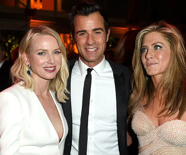 Naomi Watts, Justin Theroux and Jennifer Aniston at the 2015 *Vanity Fair* Oscars after party.