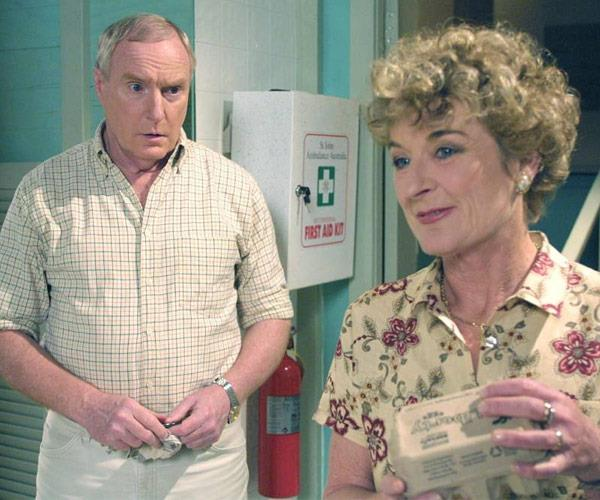 With his former on-screen love Ailsa, played by Judy Nunn.