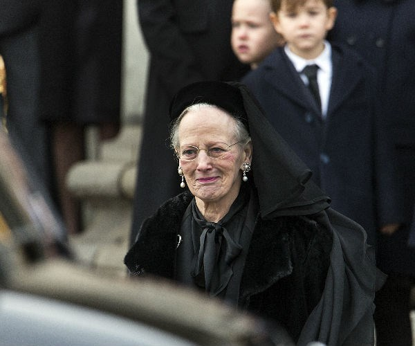Queen Margrethe appeared emotional throughout the service, but did manage to smile from time to time.