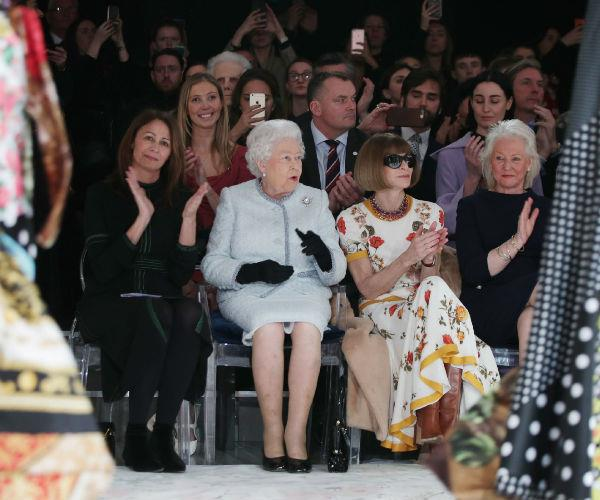 Queen Elizabeth appeared enthralled by the unconventional showing from Richard Quinn.