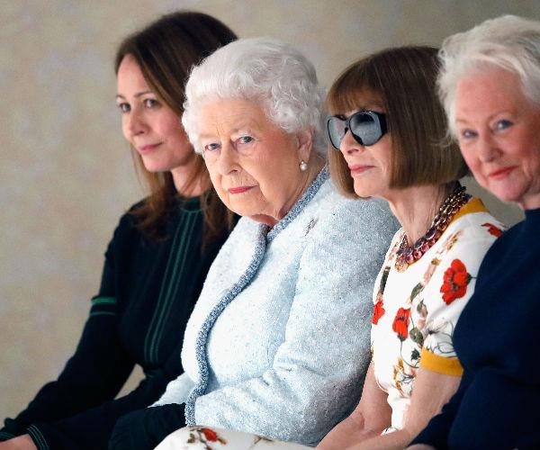 Queen Elizabeth was seated with a sunglasses-adorned Anna Wintour.
