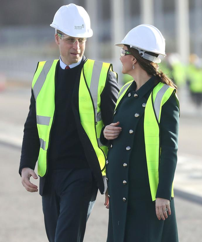 Twins! Kate and Wills wore high-vis gear as they visited the Northern Spire -- a new bridge in Sunderland.