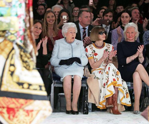 The 91-year-old monarch stepped outside of her usual realm of royal duties to view a show from emerging designer Richard Quinn at London Fashion Week.