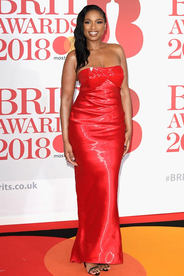 Red hot! Jennifer Hudson turned up the heat in a figure-hugging strapless number.