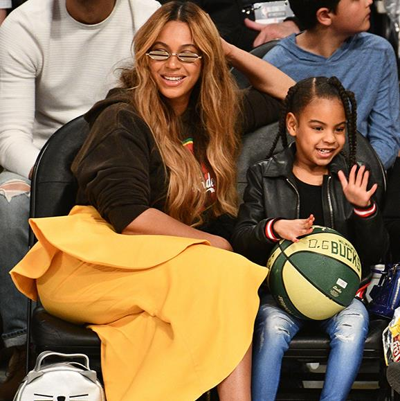Beyonce took her 6-year-old daughter Blue Ivy to a basketball game for a fun mummy-daughter night out. The pair seemed to be enjoying themselves as they cheered on the players and Blue cradled her very own ball. Beyonce later posted a video of the two from the game, watch it below.