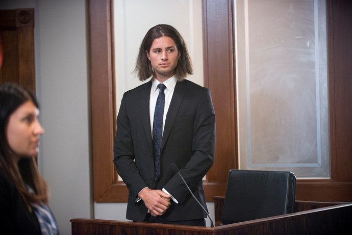 **Tyler faces court, 2018:** After his failed attempt to run away Tyler took the stand. He pleaded guilty and despite Toadie (Ryan Moloney) making a plea for leniency Tyler was slapped with 20 years jail, 10 non-parole. Once in jail Tyler broke up with Piper leaving her heartbroken. And fearing Banks' wrath, Tyler applied for a prison transfer and was sent to an Adelaide jail.