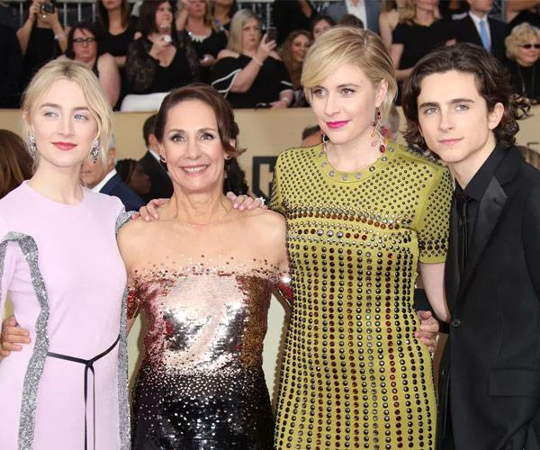 Director Greta Gerwig with the *Lady Bird* cast.