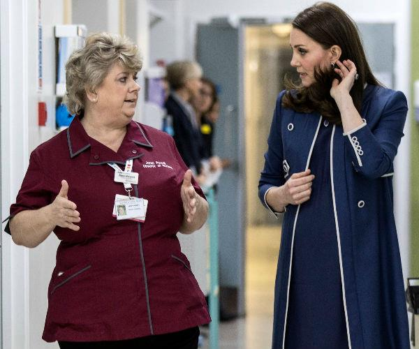 Duchess Catherine dropped by the St. Thomas' Hospital in London to officially launch a campaign to promote nursing worldwide.