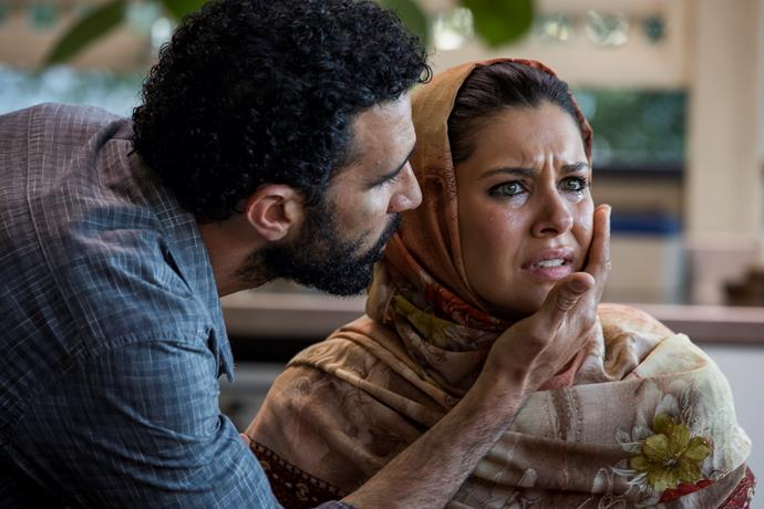 Zahra (Nicole Chamoun) and Ismail (Hazem Shammas) are filled with emotions as the truth comes out.